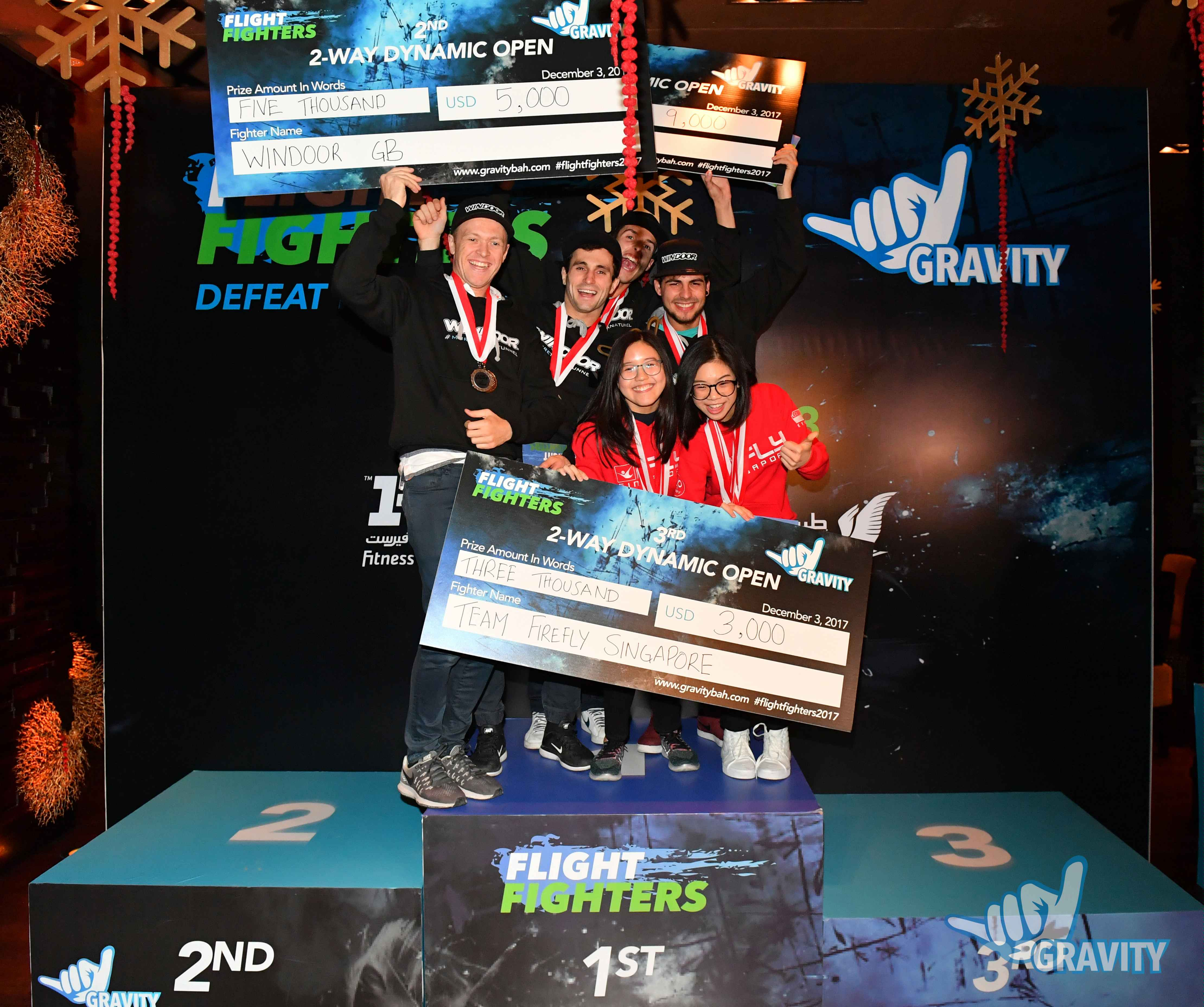 Dynamic 2-way team medal-winners, sharing their joy at Flight Fighters competition 2017, Gravity, Bahrain