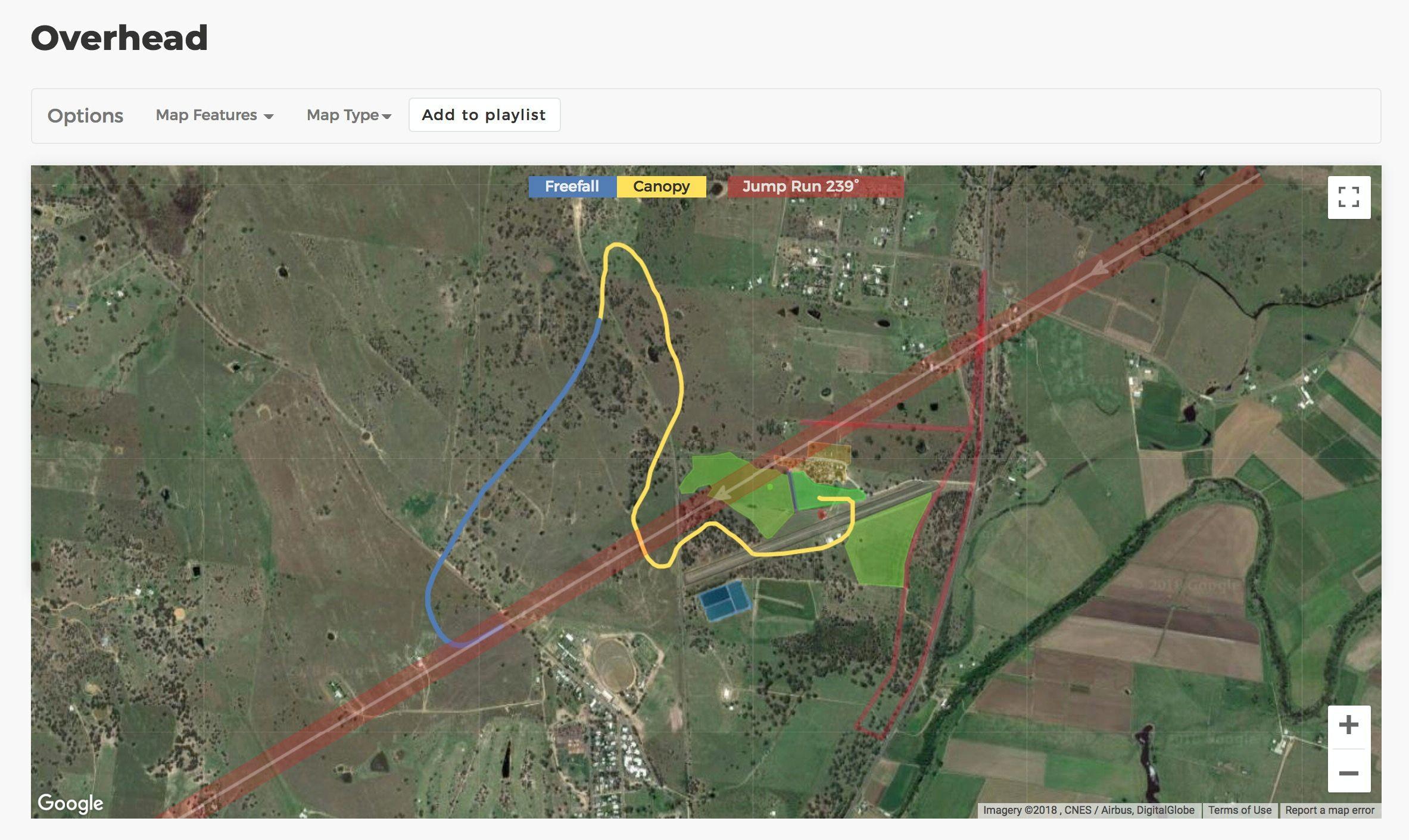 Dekunu Cloud overhead map of a jump
