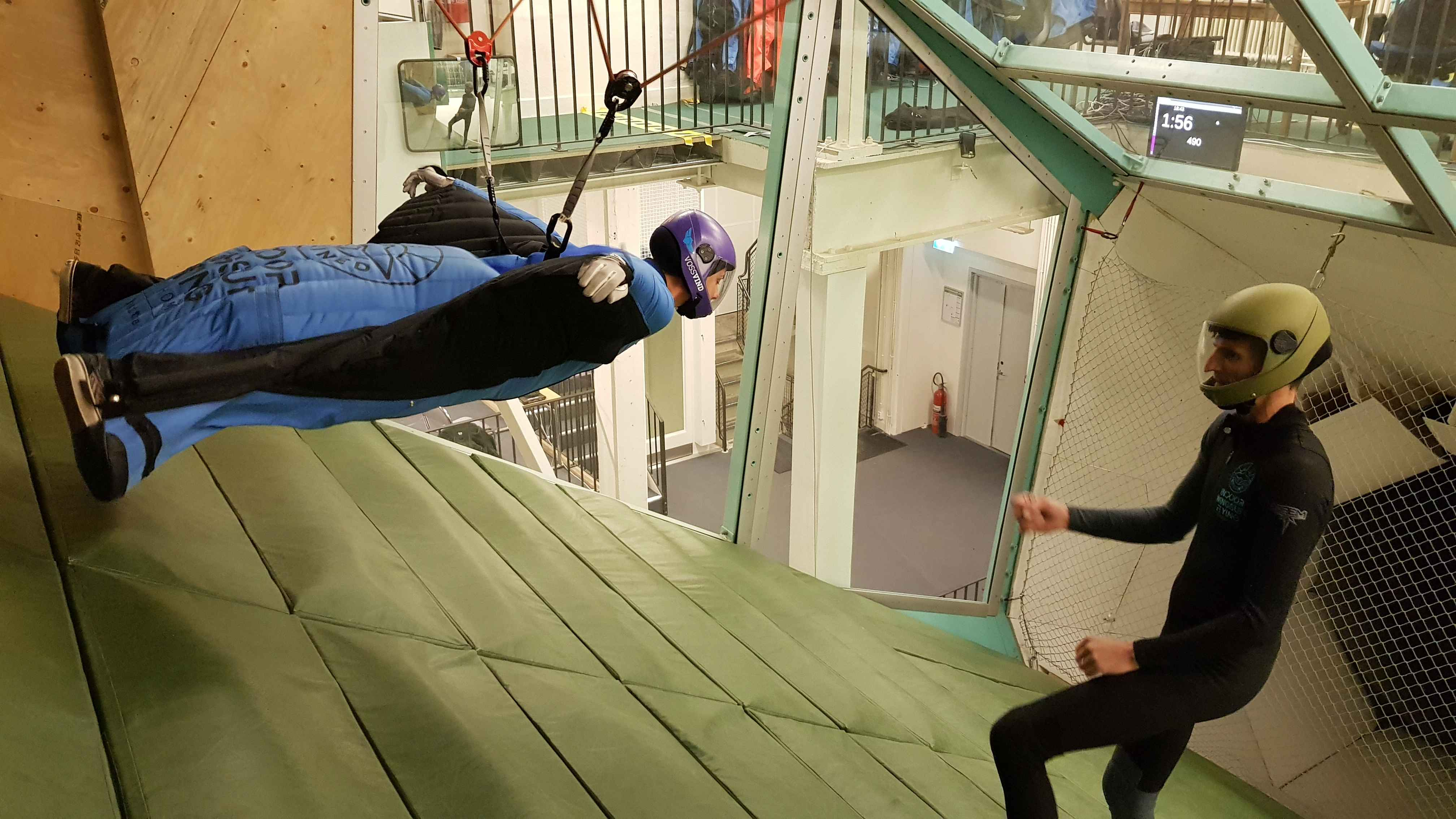 Flying in Inclined Indoor Wingsuit wind tunnel