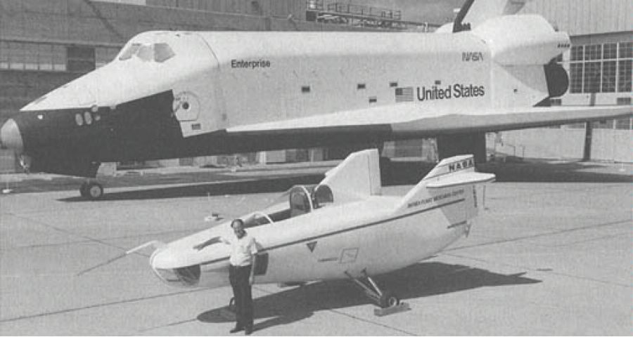 M2-F1 in front of Shuttle prototype