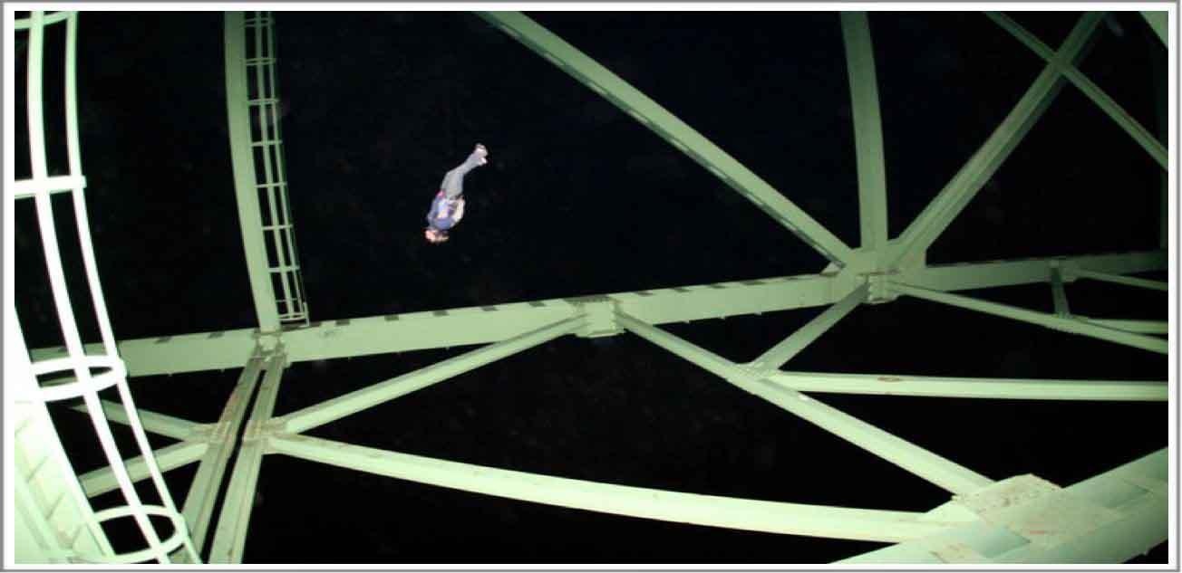 Author Katie Hansen jumps through the steel