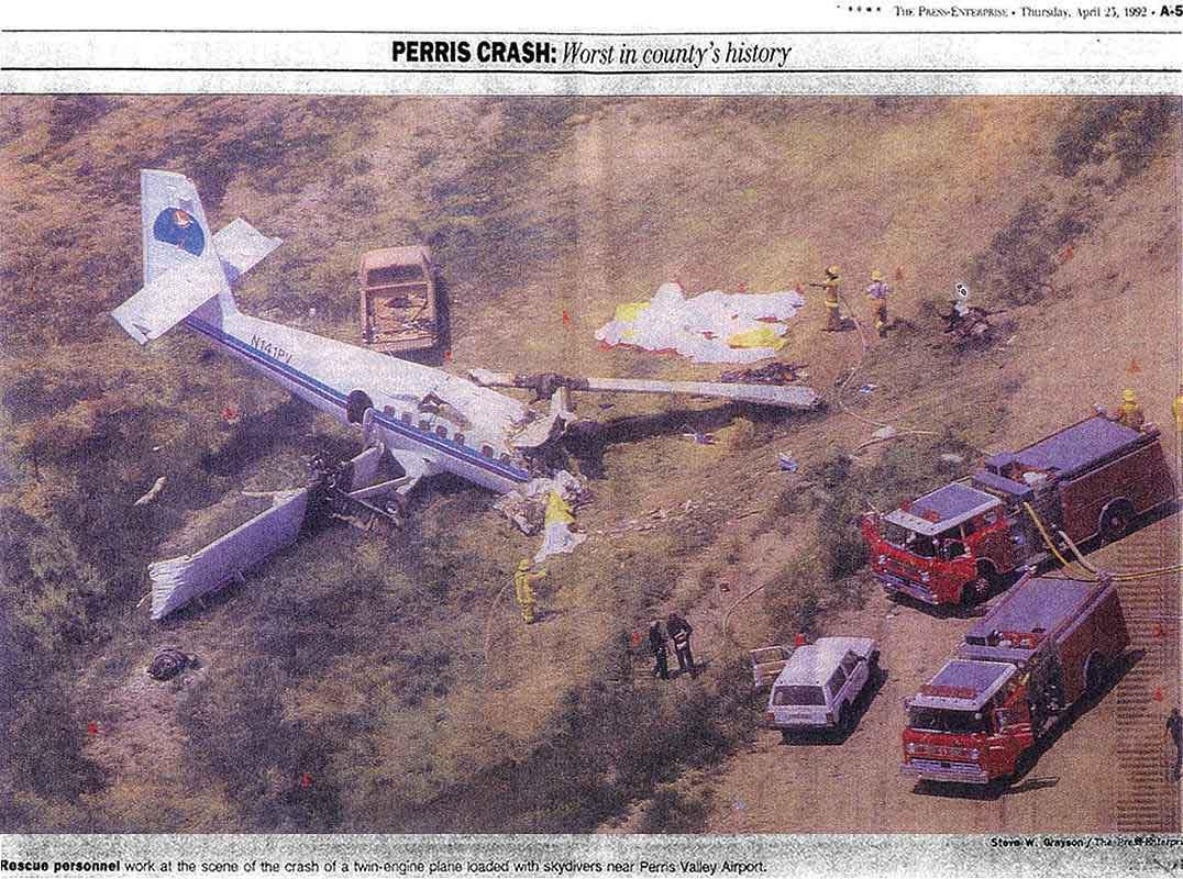 Newspaper article on the crash that killed Dan's teammates