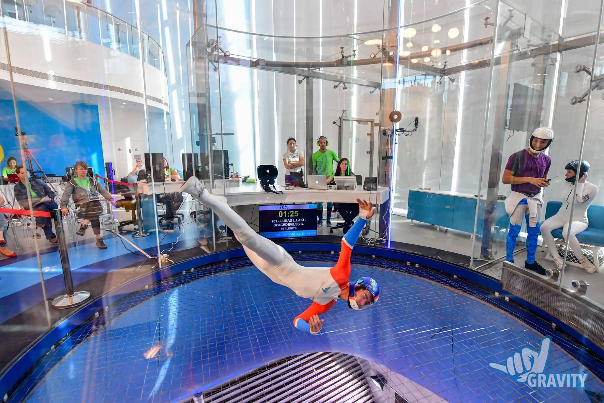 Gravity's large, clear wind tunnel is state of the art and perfect  for viewing